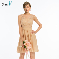 Dressv Elegant Dark Champagne A Line V Neck Bridesmaid Dress Wedding Party Women Short Mini Lace