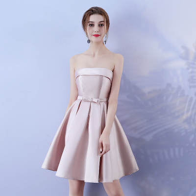 Bridesmaid Dress  Wedding Guest Dress Red Bean Pink Colour Sleeveless  Above Knee  Mini Dress Sexy Back Of Bandage