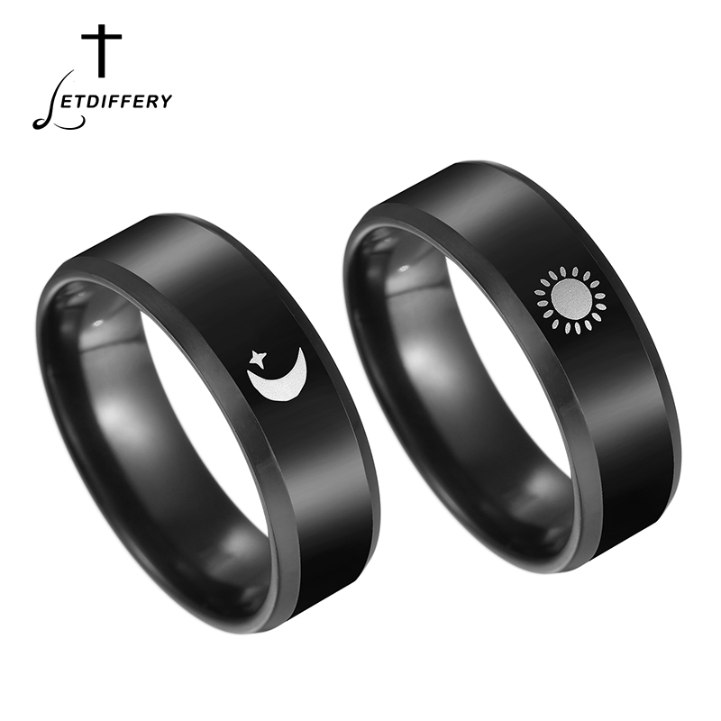 Letdiffery Black Titanium Stainless Steel Ring Sun Moon Star Islam Religious Couples Rings Game of Thrones Power Lovers Jewelry image