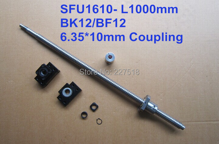 Ballscrew  1610 - 1000mm + METAL DEFLECTOR SFU1610 Ballnut + BK12 BF12 support + shaft coupling