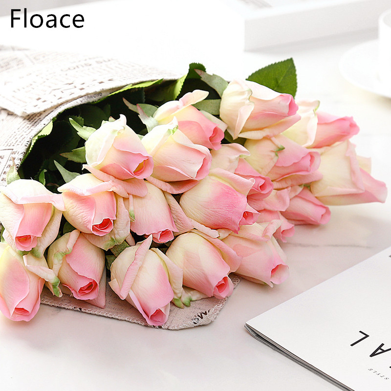 Floace 15pcs/lot Rose Flowers Bouquet Royal Rose Upscale Artificial Flowers Silk Rose Flowers Home Wedding Decoration