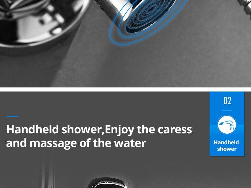 hm Black Rainfall Thermostatic Shower Faucet Set Single Lever Brass Mixer Valve Rack Bath Shower Mixers Rack shower set (16)