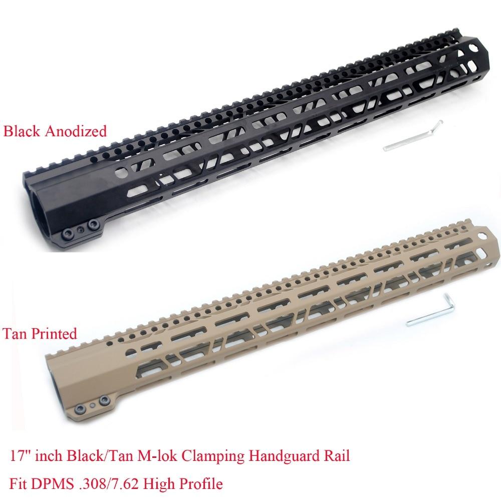 TriRock 17 ''pouces M-lok De Serrage Handguard Ferroviaire fit LR-308 Haute Profil. 308/7. 62 Garde main Picatinny Montage System_Black/Tan