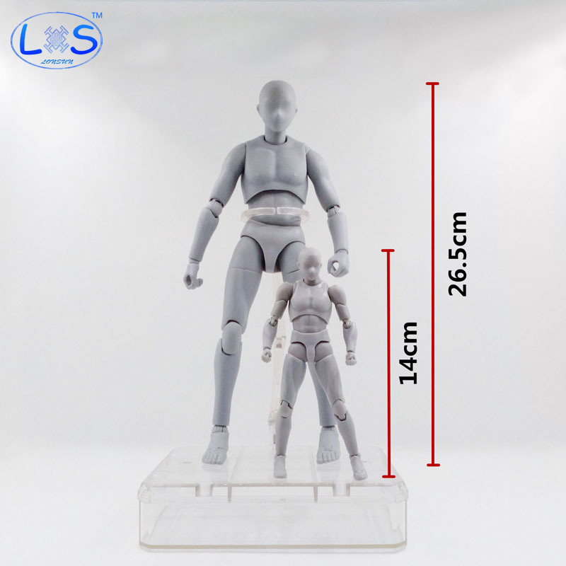 (LONSUN)26.5cm Archetype He She Ferrite Figma Movable BODY KUN BODY CHAN PVC Action Figure Anime Collectible Model Toys archetype transparent ver she