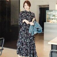2017 Printemps Mode Sexy Nouveau Modèle Coréen Loisirs Facile Mode Frissons Stand Plomb Longues Manches Gâteau Dress