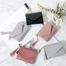 Hot Selling Women Square Coin Purses Holders Wallet Female Leather Tassel Pendant Money Wallets Fashion Clutch Bag