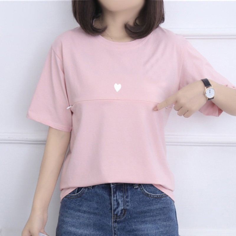 Casual Nursing Cotton Tops Breastfeeding T Shirts for Pregnant Women Summer Short Sleeve Top Tee Maternity Clothes Glitter Print