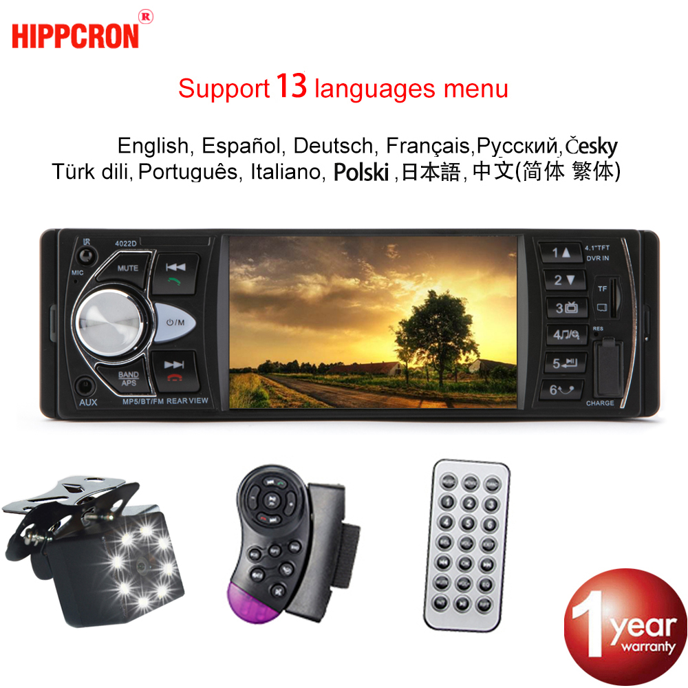 Hippcron Car Radio 1 Din Autoradio 4022D Bluetooth 4.1