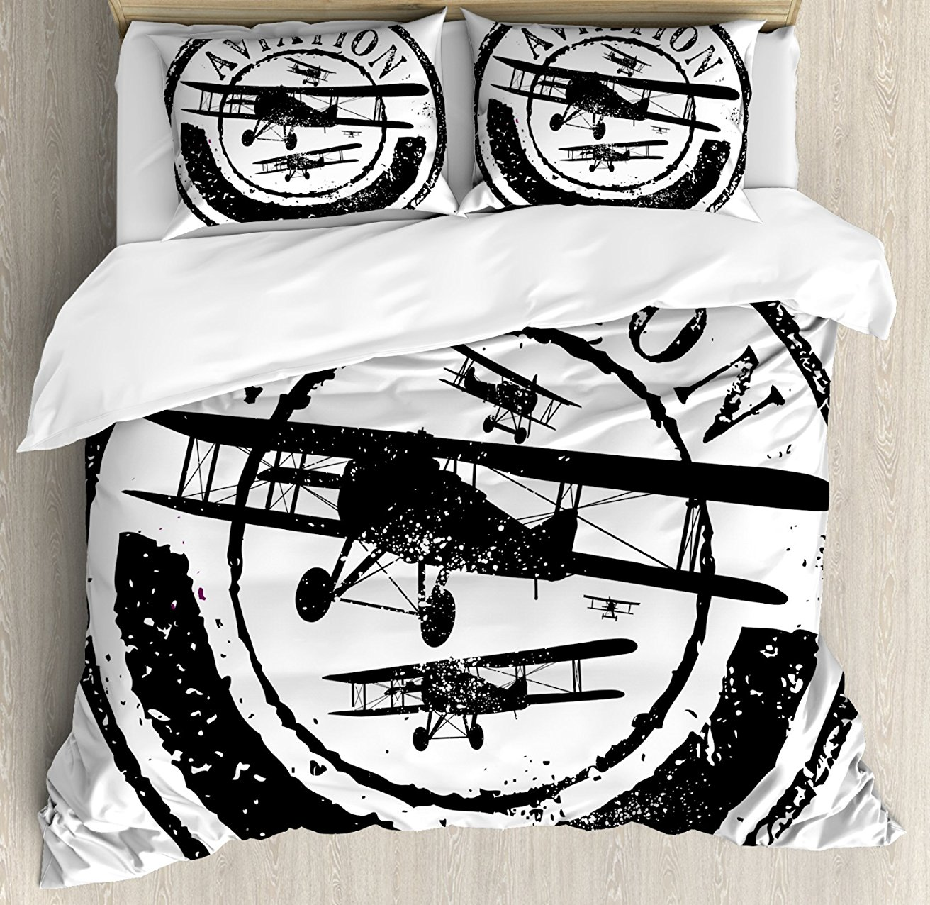 Vintage Airplane Decor Duvet Cover Set Grunge Stamp Design with Word Aviation and Airplane Silhouettes Decor Bedding Set