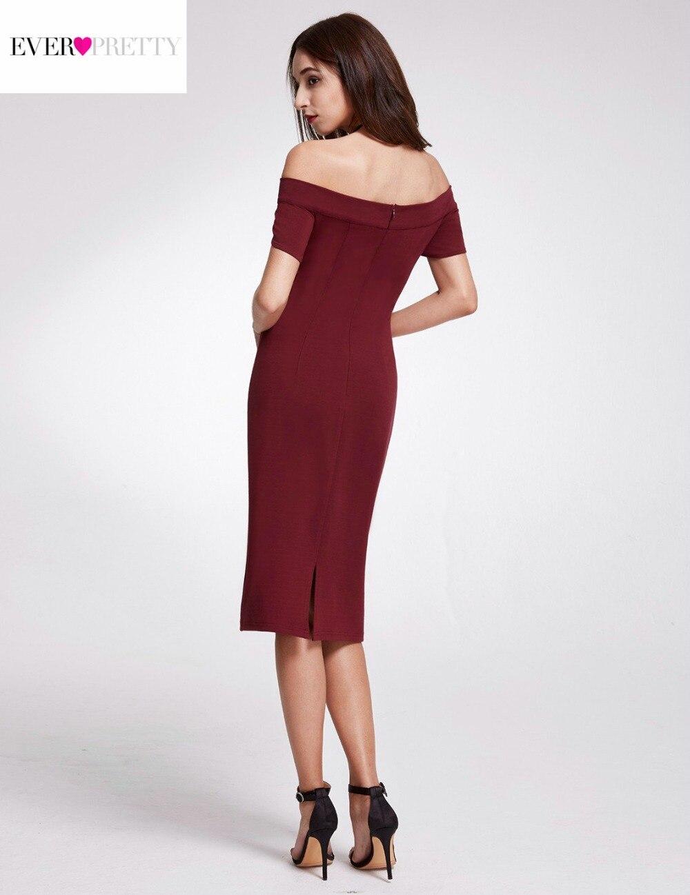 Gorąca sprzedaż burgundowe sukienki koktajlowe 2018 Ever Pretty - Suknie specjalne okazje - Zdjęcie 4