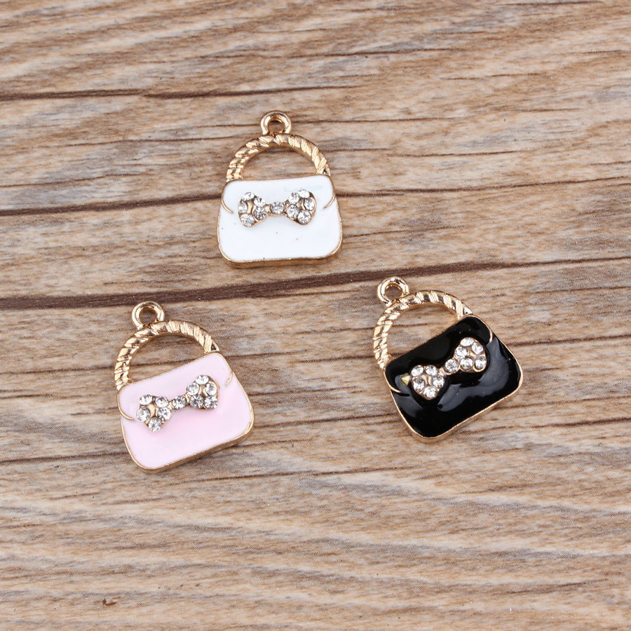 MRHUANG 10pcs/lot Bow Rhinestone Lady bag Enamel Charms Fit DIY Bracelet Necklace Hair J ...