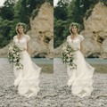 Vestidos de Novia Lace Chiffon Boho Wedding Dress 2017 Country Style Bohemia Beach Wedding Dresses Gipsy Two Pieces Bridal Gowns
