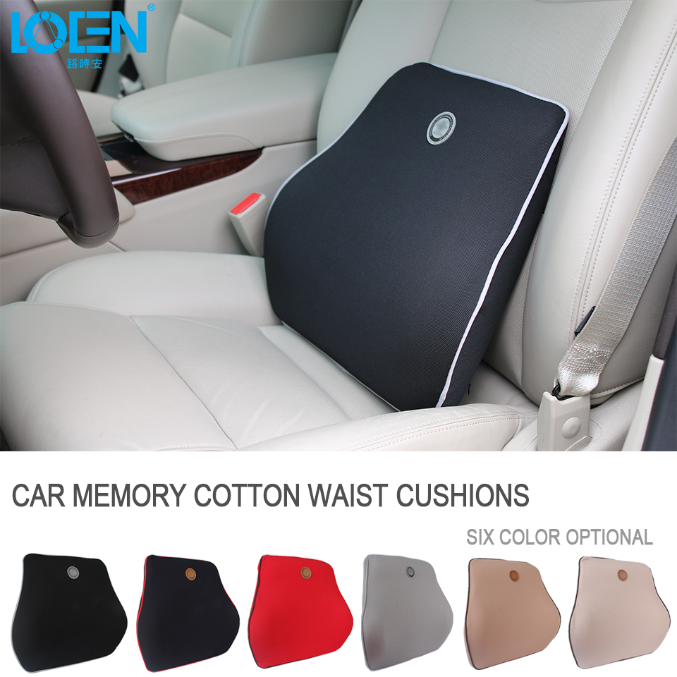 Back pillows space memory fabrics car seat cushion waist back lumbar support space memory foam lumbar cushion for office chair
