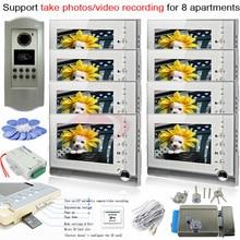 8pcs Photo Memory Indoor Units+ RFID 700lines CCD Outdoor Camera Video Door Phone Intercom System For 8 Apartments+E-Lock