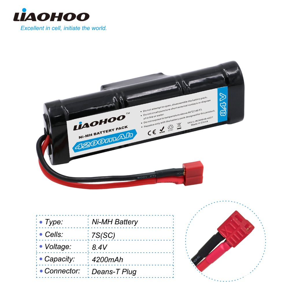 LiaOHOO 8.4V 4200mAh 7-Cell Flat Pack NiMH Battery for Remote control Racing car ARRMA Raider XL BLX with Deans-T Discharge Plug