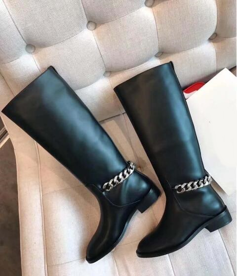 Women Black Leather Chain Boot Stamped Stacked Heel Knee Boots Round Toe Pull on Winter Flat Boots Silver Tone Chain Boots new fashion silver tone chain trim flat sandals flat heel black white metal leather ankle sandals for women free shipping