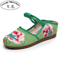 Vintage Embroidery Women Shoes Flats Cotton Fabric Flower Embroidered Female Thailand Style Buckle Strap Flat Plus Size 41