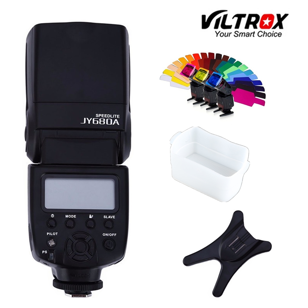 Viltrox JY-680A Universal LCD Flash Speedlight+Bounce Diffuser+Color film for Canon Nikon Pentax Olympus Cameras universal soft screen pop up flash diffuser for nikon canon pentax olympus camera soft diffuser plastic diffuser softer 10d 20d