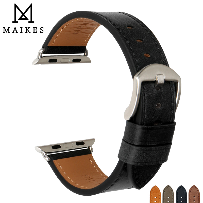 MAIKES Genuine Leather Watch Accessories Apple Watch Band 38mm & Apple Watch Bands 42mm iWatch 3 2 1 Light Black Watch Strap mking apple watch iwatch