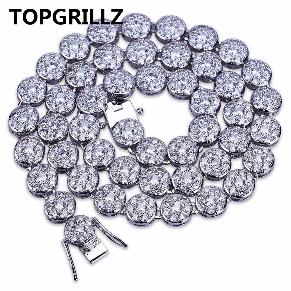 TOPGRILLZ Hip Hop Men And Women Chain Necklace Gold/Silver Color Iced Out Micro Pave Cubic Zircon 10mm Round Necklaces For GiftsTOPGRILLZ Hip Hop Men And Women Chain Necklace Gold/Silver Color Iced Out Micro Pave Cubic Zircon 10mm Round Necklaces For Gifts