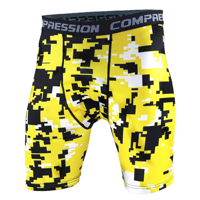 e8556f8bc5 For Mens Basketball Tight Compression Shorts Gym Fitness Clothing Training  Wicking Short Pants Yellow black and