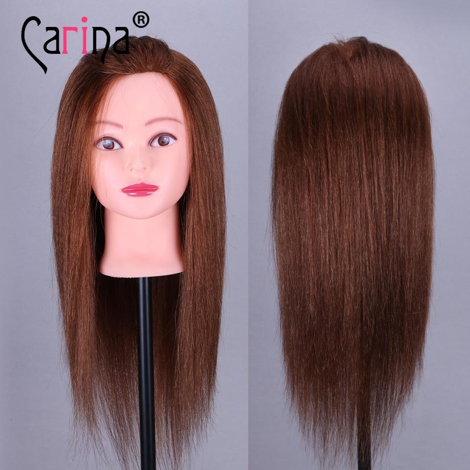 100% tête de Mannequin de cheveux réels tête de coiffure professionnelle marron 45cm formation tête de poupée femme Mannequin Mannequins de cheveux à vendre