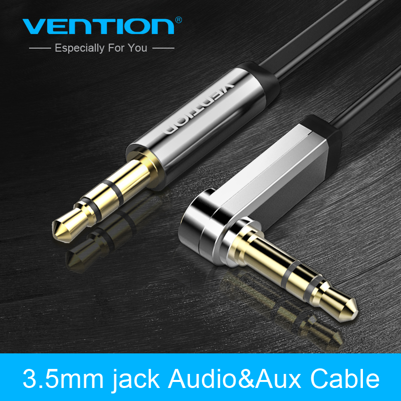Vention Aux Cable 3.5mm jack Male to Male Audio Cable 90 Degree Right Angle Flat aux cord for Car/Headphone/speaker/MP3/4 3 5mm male aux audio plug jack to usb 2 0 female converter cable cord for car mp3 speaker u disk usb flash drive accessories 3 5