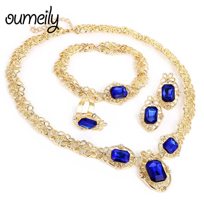 African Jewelry Set Dubai Gold Silver Color Women Wedding Costume Imitation Crystal Blue Red White Rhinestone Bridal Jewelry Set