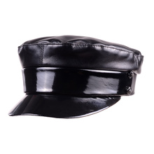 New Womens Real leather Patent Leather Shiny Black Beret Newsboy Militry Army/Navy caps/hats