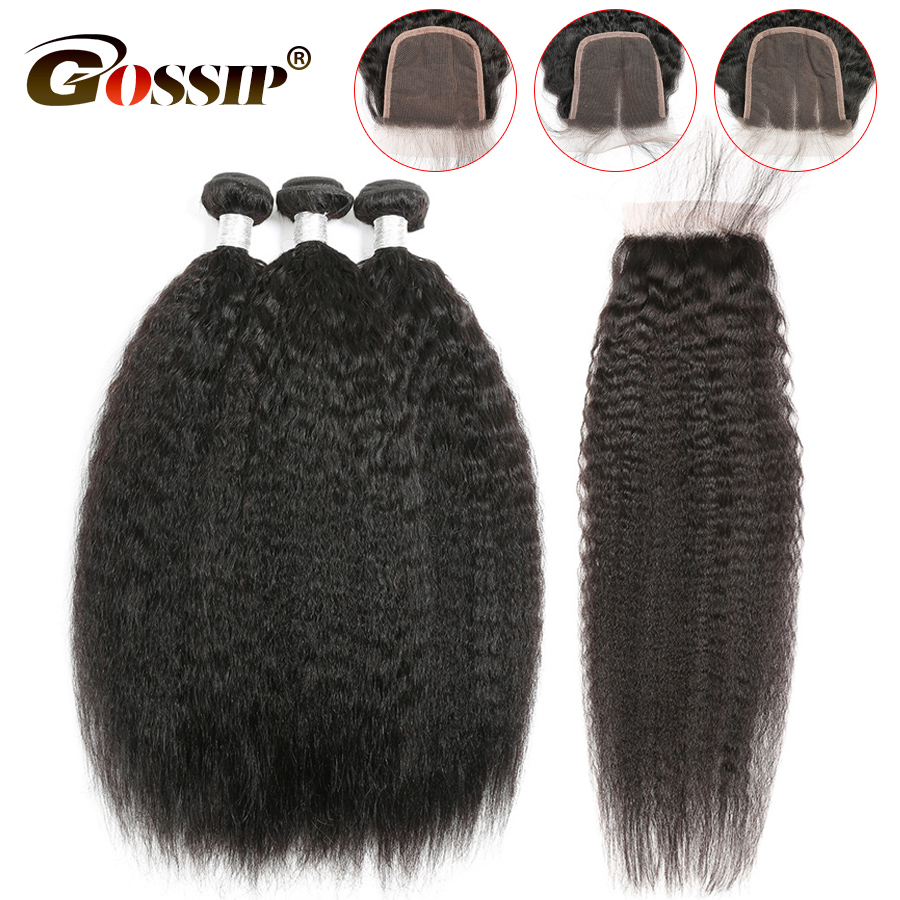 Kinky Straight Peruvian Hair 3 Bundles With Closure Pre Plucked With Baby Hair Human Hair Gossip