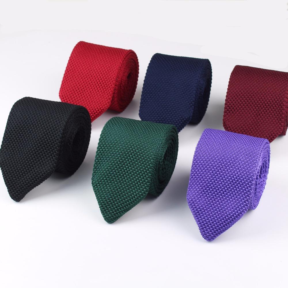 New Knitted Knit Leisure Triangle Solid Color Ties Normal Sharp Corner Neck Ties Men Classic Woven Designer Cravat