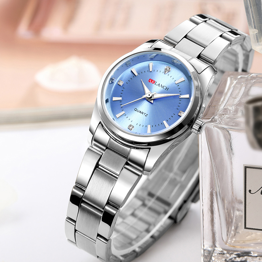 Women's Stainless Steel Small Watch Luxury Brand Quartz Ladies Dress Silver Blue Watch For Women Casual Waterproof Wristwatches