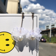 Simple Lace Simulated Pearl Long Dangle Earrings For Women Accessories Female Fashion Bride Wedding Jewelry Gift Pendant Earring цена 2017