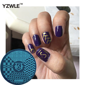 YZWLE 1 Pcs Stamping Nail Art Image Plate 5.6cm Stainless Steel Nail Stamping Plates Template For Nails Stencil Tools (hehe-027)