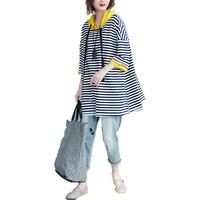 Bust : 130 cm Fashion Women's Cotton striped T shirt 2018 Autumn women Casual big size t shirt women Hooded Loose shirt top