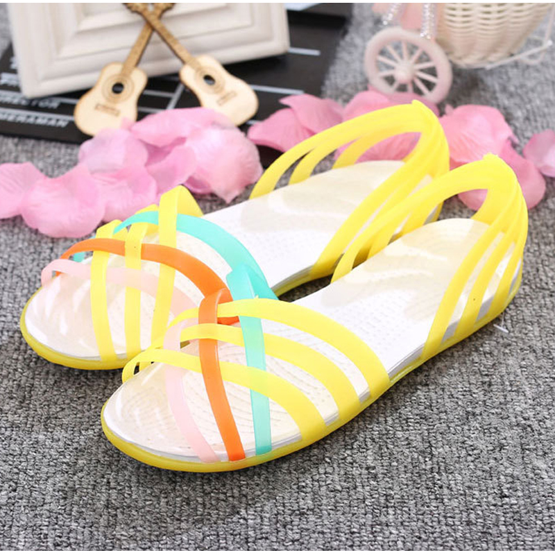 HTB1WuK2uStYBeNjSspkq6zU8VXaM MCCKLE Women Jelly Shoes Rainbow Summer Sandals Female Flat Shoes Ladies Slip On Woman Candy Color Peep Toe Women's Beach Shoes