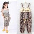Conjuntos de roupas meninas de verão para crianças moda sling leopard camisetas e calças casuais maré modelos ternos 3-7 anos velho 2017 novo