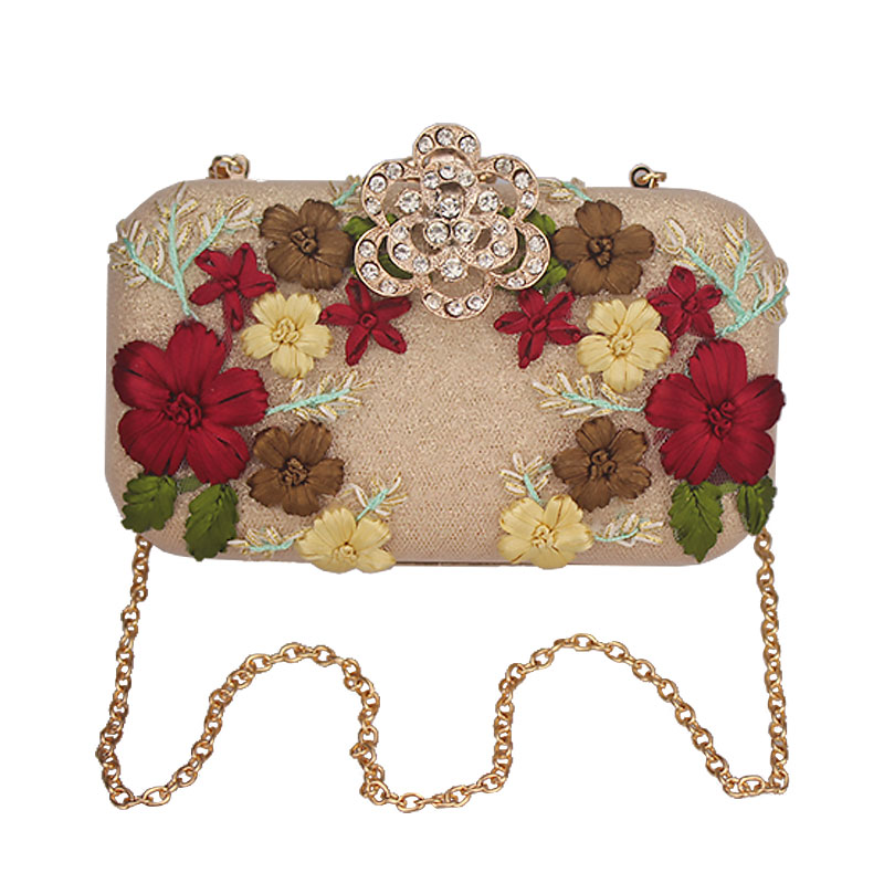 Flower Crystal Evening Clutch Bag Flap Diamonds Applicant Chain Shoulder Handbags Bag Female Handbag Party Wedding Purse