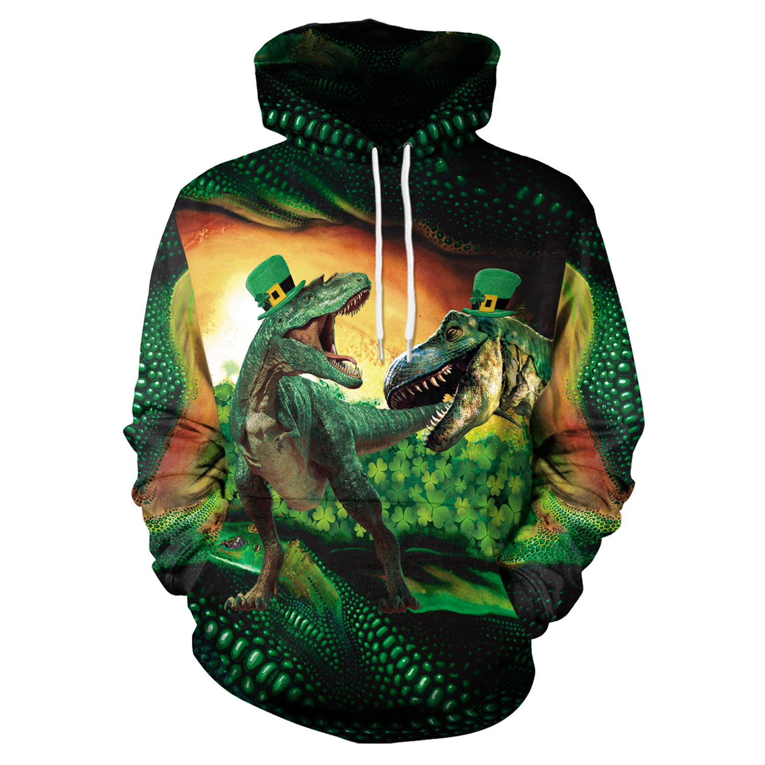 St Patrick's Day Green Hat Raptor Shamrocks Print Hoodies Men Hoodie with Hat Round Neck Loose Sweatshirt Pullover Streetwear
