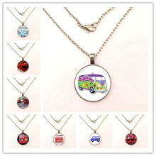 GDRGYB 2019 EJ Glaze Jewelry Fashion Statement Glass Pendant necklace For Women Kids Old London Montage Red Double Decker Bus(China)