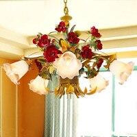 Estilo europeu flores sala de estar quarto Lustre lustres de arte flores de ferro luzes Coreano Porte livre