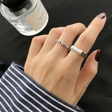 Amaiyllis  S925 Sterling Silver Simple Retro Thai silver chain square Letter Opening Ring  For Women Luxury Jewelry 925 sterling silver opening snake retro thai silver ring