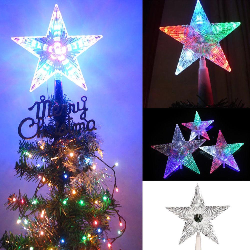 Colorful Star Lights Lamp EU Plug Topper Bars Wedding Transparent Christmas Tree 220V Festival Lighting Party Decoration