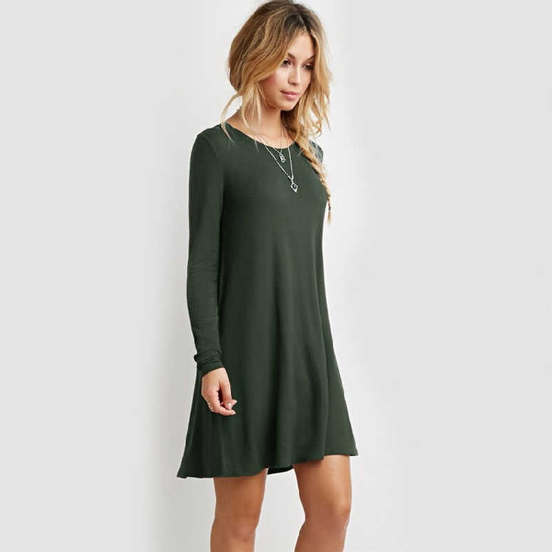 2019 summer dress new arrive O neck full sleeve solid plus size 5XL loose hot fashion evening clothing cotton women dresses 9017