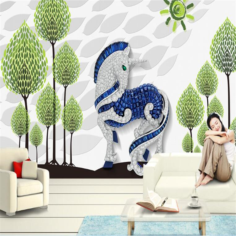 Beibehang Modern Minimalist Hand-painted Tree Unicorn Background Wall Photo Wallpaper Wall Sticker Large Papel De Parede