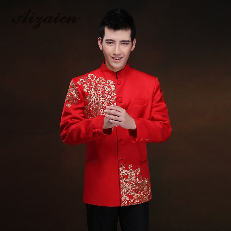 Groom Wedding Suit Red Traditional Chinese Clothing For Men Cheongsam Tops Tang Costume Robe Rouge Modern