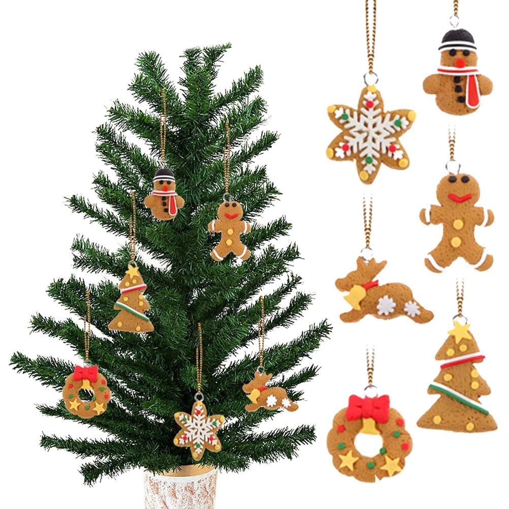 6pcs Cute Cartoon Gingerbread Men Snowflake Xmas Tree And Snowmen Polymer  Clay Pendants Hangning Christmas Tree