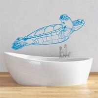 Kaplumbağa Duvar Çıkartması Kaplumbağa Vinil Sticker Deniz Hayvan Okyanus Denizcilik Deniz Dekor Banyo Yatak Yurt Vinil Sanat Mural