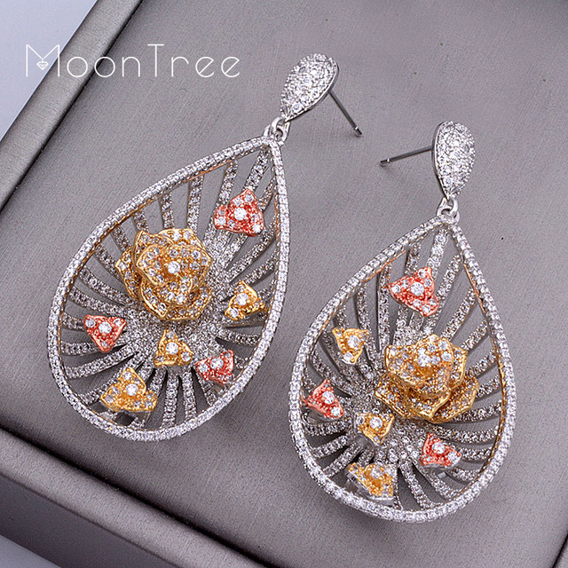 MoonTree 53mm luxury Daisy Flower Line Wheel Full Micro Paved Cubic Zircon Wedding Paty Earring Fashion Jewelry For Women