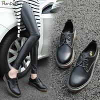 2018 The New Flat Bottom Institute wind And Women lovely lace up Casual Shoes Lacquer Skin English Style Bullock European6.15